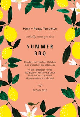 Lemons - BBQ Party Invitation