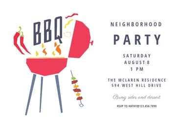 Neighborhood Party - BBQ Party Invitation