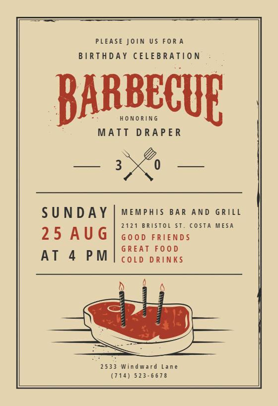 Birthday BBQ - BBQ Party Invitation Template (Free ...