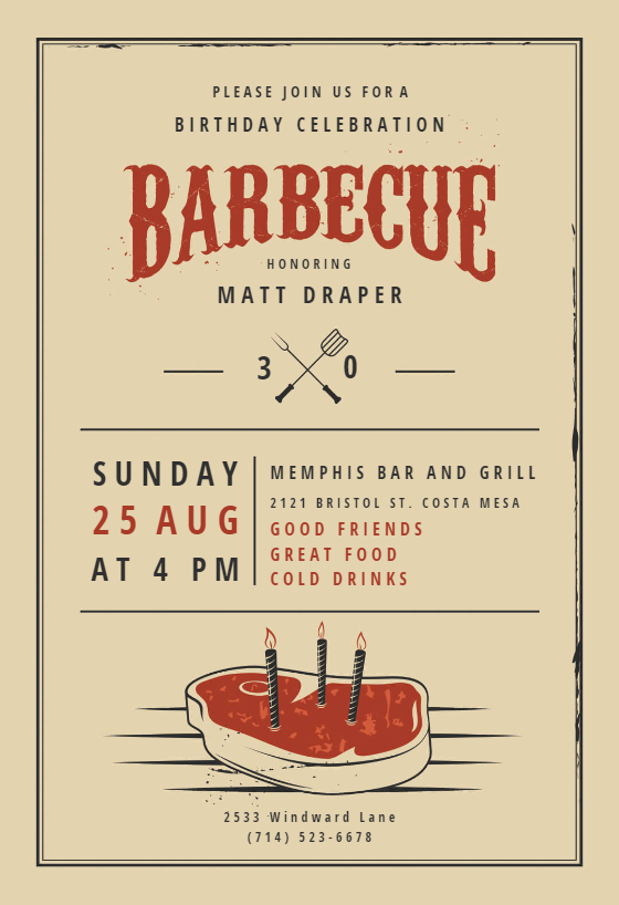 photograph regarding Free Printable Cookout Invitations referred to as BBQ Get together Invitation Flyer Templates (Absolutely free) Greetings Island
