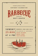 Birthday BBQ - BBQ Party Invitation
