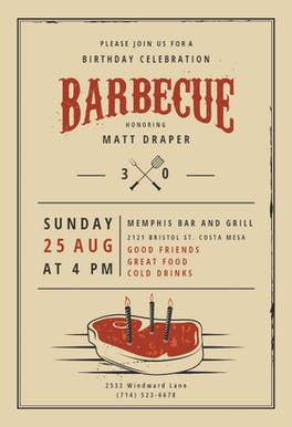Birthday BBQ - Birthday Invitation