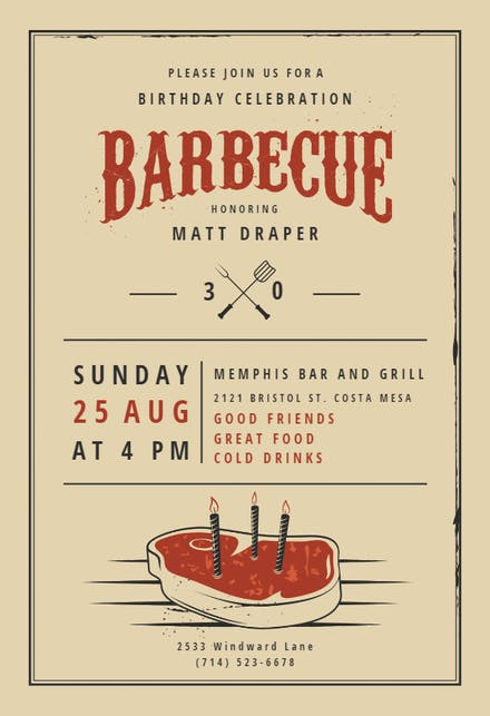 BBQ Party Invitation Flyer Templates Free