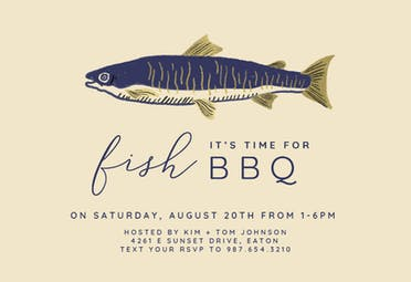 Time for Fish - BBQ Party Invitation
