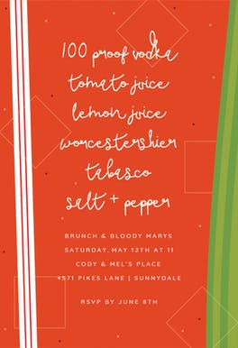 Bloody Mary Brunch - Brunch & Lunch Invitation