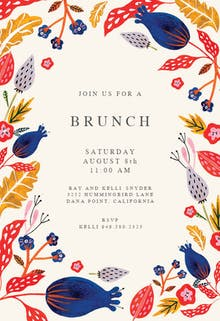 rustic floral brunch lunch invitation