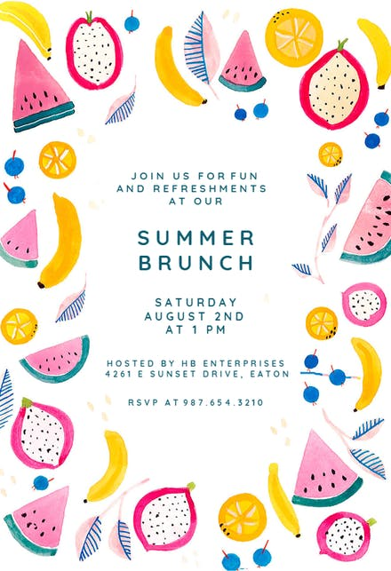 Brunch Lunch Party Invitation Templates Free