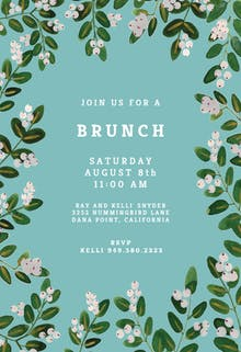white bloom brunch lunch invitation