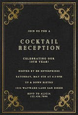 Swirls and Frames Black - Cocktail Party Invitation
