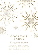 Golden fireworks - Cocktail Party Invitation