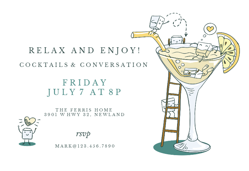 Happy Hour Cocktail Party Invitation Template Free