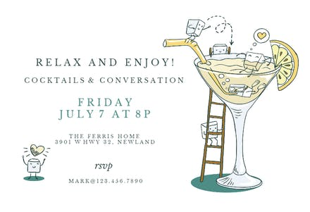 Happy Hour Cocktail Party Invitation Template Free Greetings