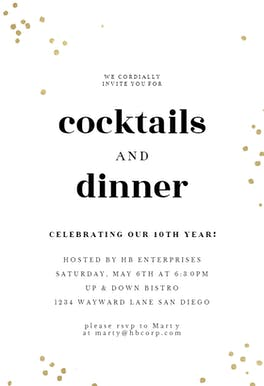 Minimal confetti - Cocktail Party Invitation