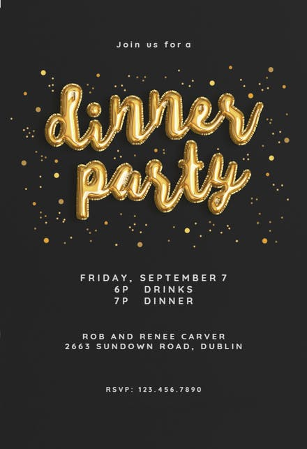 Balloons of Course - Dinner Party Invitation Template (Free ...