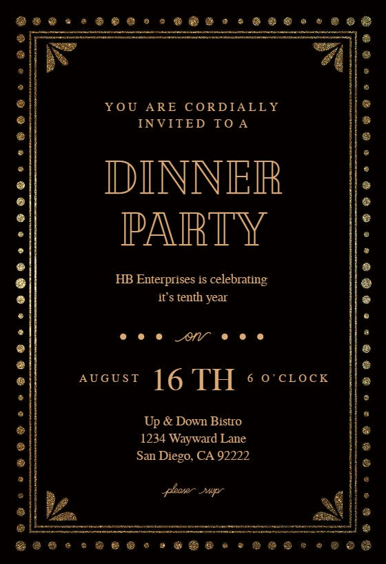 Fancy night - Free Dinner Party Invitation Template ...