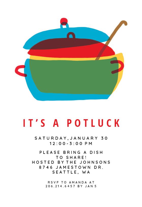 photograph regarding Potluck Invitation Template Free Printable named Potluck Invitation Templates (No cost) Greetings Island