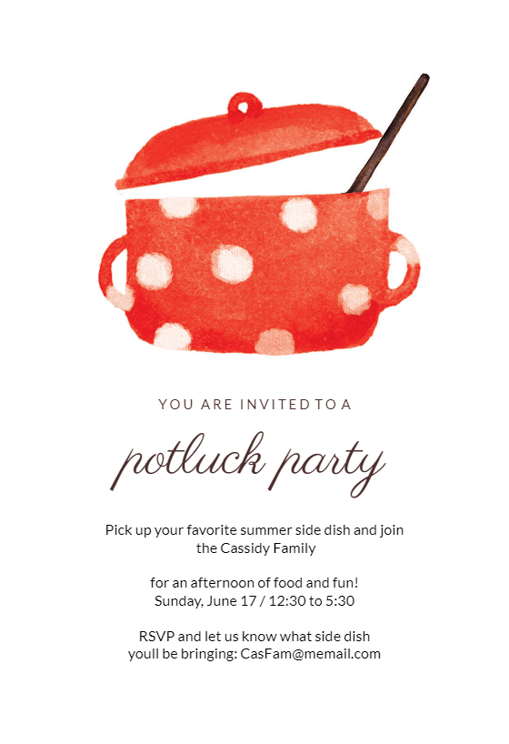 Incredible Dotted Pot Potluck Invitation Free Greetings Island Personalised Birthday Cards Petedlily Jamesorg