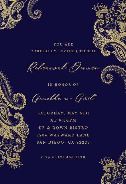 Elegant Henna - Dinner Party Invitation Template (Free ...