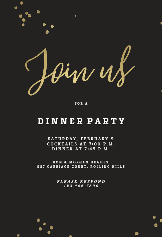 Minimal Confetti Dinner Party Invitation Template Free