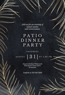 Tropical gold palms - Dinner Party Invitation