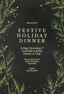 Winter greenery - Dinner Party Invitation