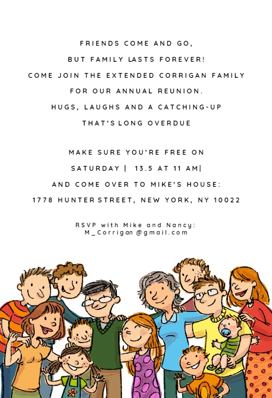 Family Lasts Forever Free Family Reunion Invitation Template