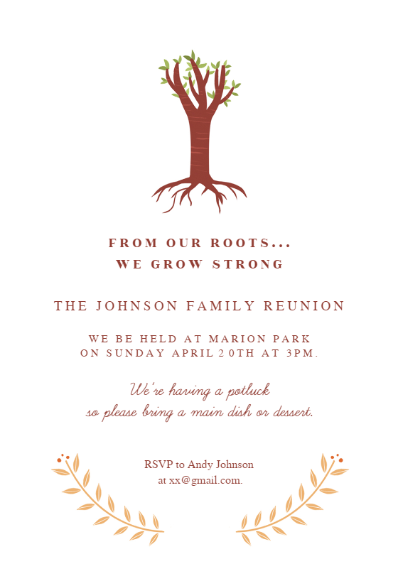 Our Roots Family Reunion Invitation Template Free
