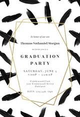 Black brush strokes - Graduation Party Invitation