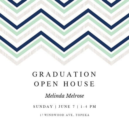 Chevron Points Graduation Party Invitation