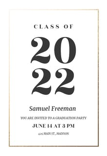 elegant big numbers graduation party invitation