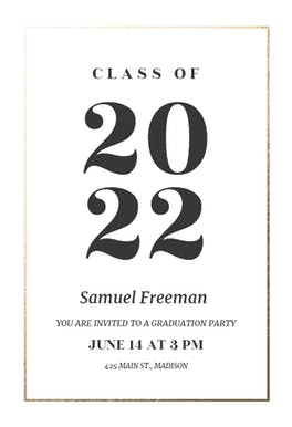 Elegant big numbers - Graduation Party Invitation
