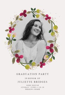 Floral Happiness - Graduation Party Invitation