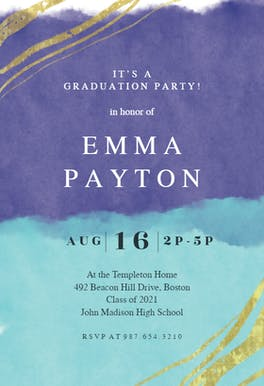 Happy color strokes - Graduation Party Invitation Template