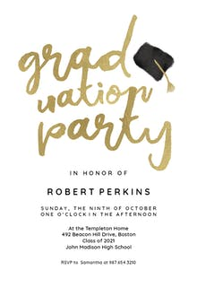 hats off graduation party invitation