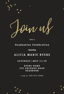 Minimal confetti - Graduation Party Invitation