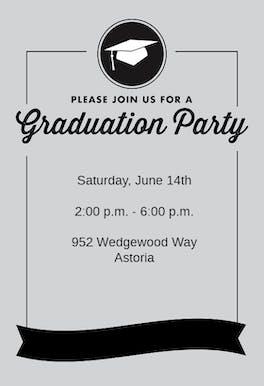 Ribbon Graduation - Party Invitation