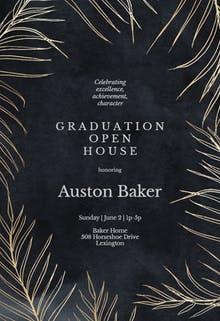 Tropical gold palms - Graduation Party Invitation