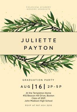 Winter Wreath - Graduation Party Invitation