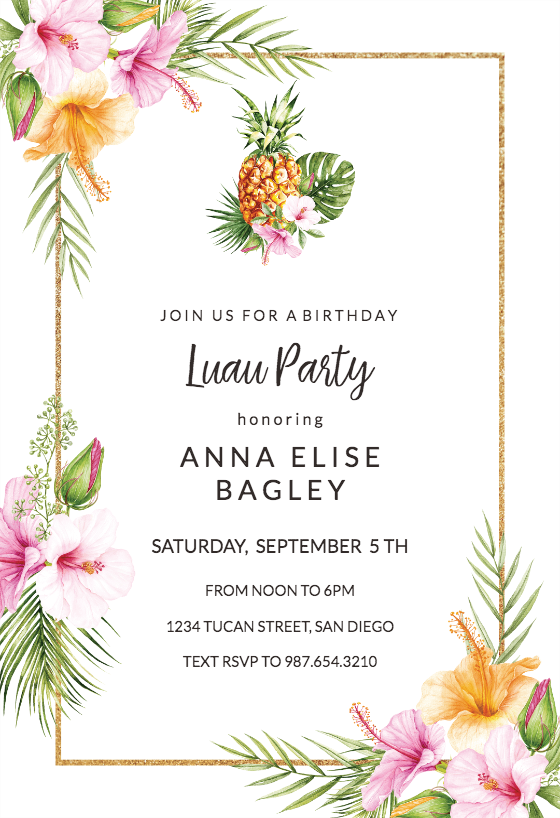 picture about Hawaiian Theme Party Invitations Printable named Luau Bash Invitation Templates (Totally free) Greetings Island