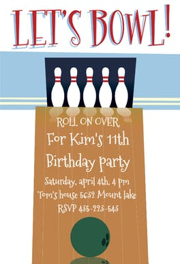 A Night out Bowling - Birthday Invitation