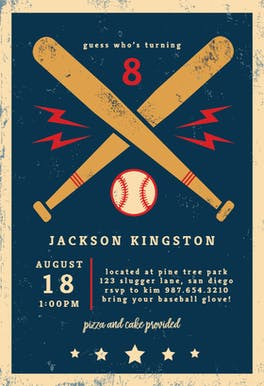 Baseball & Bats - Birthday Invitation