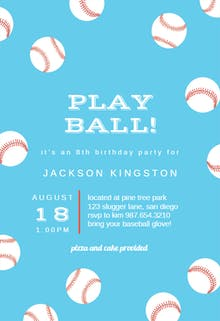 Baseball Birthday - Birthday Invitation