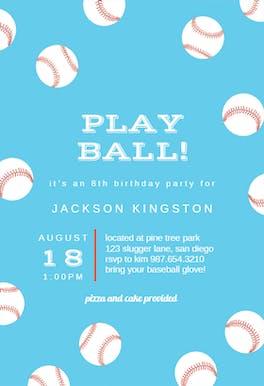 Baseball Birthday - Birthday Invitation