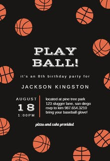 Basketball Birthday - Birthday Invitation