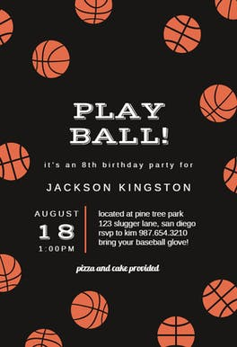 Basketball Birthday - Birthday Invitation