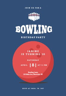 Bowling pins - sports & games Invitation