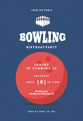 Bowling pins - Birthday Invitation