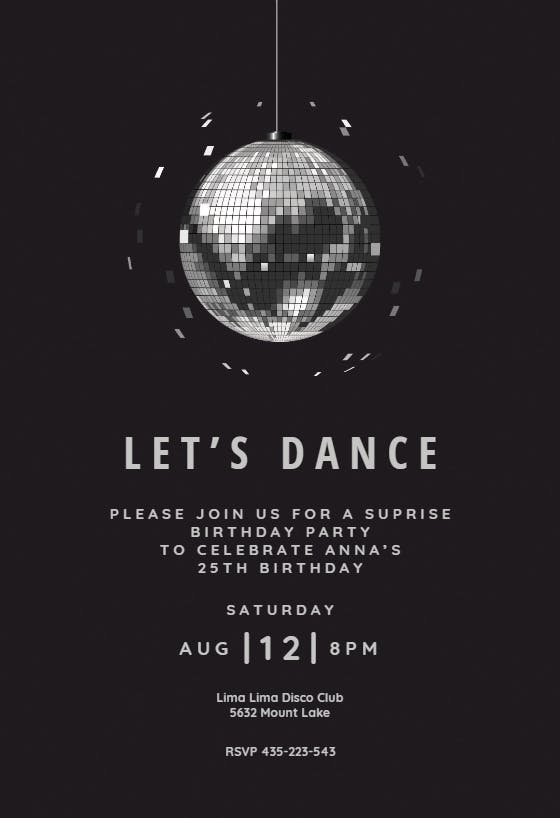 Modern Disco Party Free Printable Party Invitation Template