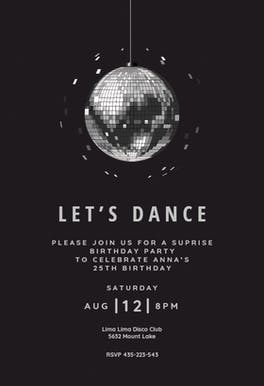 Disco ball - Birthday Invitation