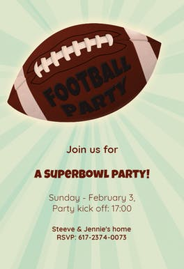 Football Superbowl Party - sports & games Invitation